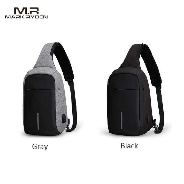 SLING BAG MARK RYDEN ORIGINAL CROSSBODY BAG TAS SELEMPANG ANTI MALING [+] 100% Original Mark Ryden 5898  [+] Warna Grey & Black [+] Waterproof, Dustproof & Anti-Theft Design (Hidden Zippers) [+] Material(s): PVC, Polyester