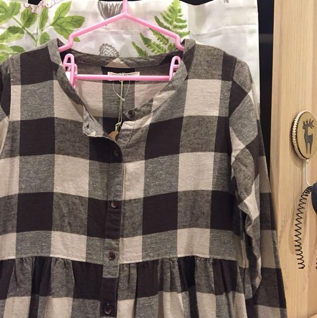 SUN VALLEY 森林系大格子棉製裙