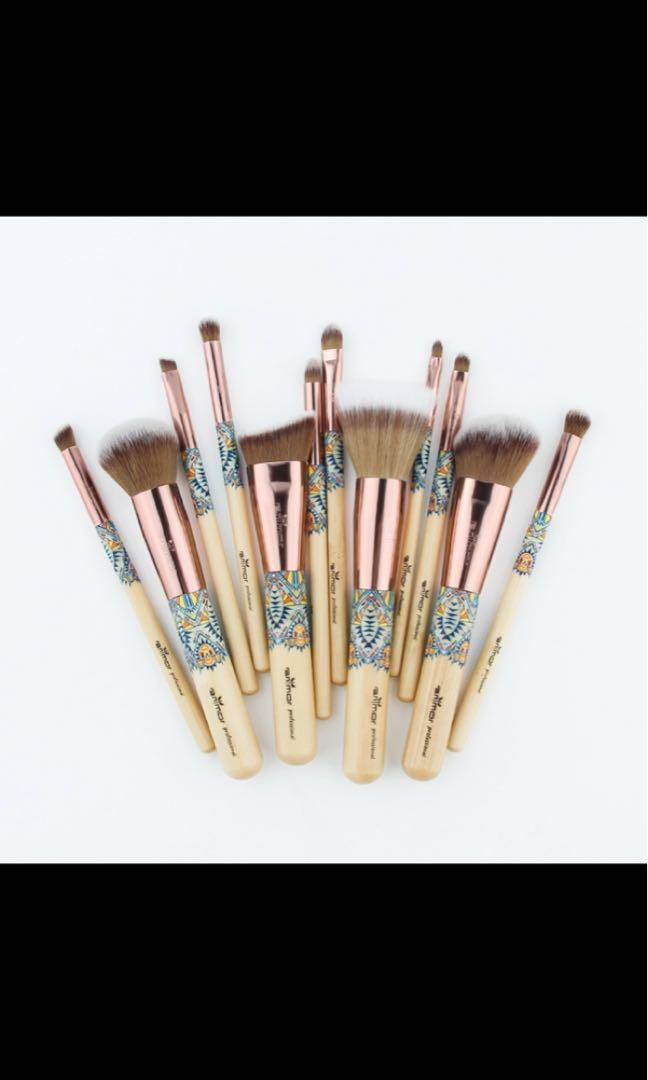 Synthetic bamboo makeup brush set