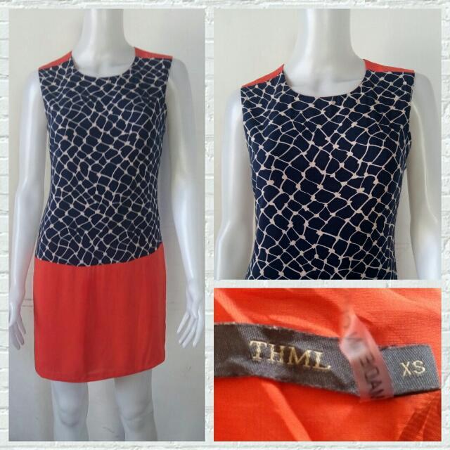 THML Orange/Navy Blue Dress