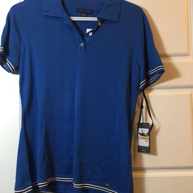 Tommy Hilfiger NWT small blue knit Tshirt polo