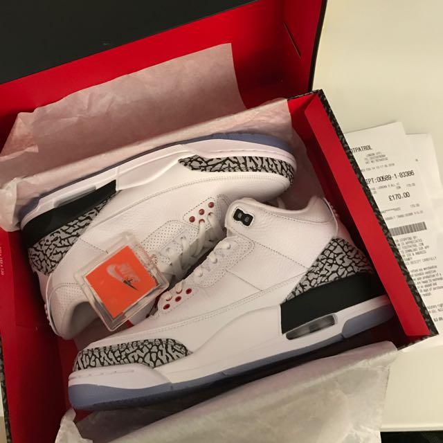 pakistaní Óptima Experto  UK 8.5/US 9.5 - Air Jordan 3 Retro NRG - White Cement / Free Throw Line,  Men's Fashion, Footwear on Carousell