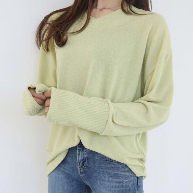 V領羅紋針織衫 66girls #新春八折