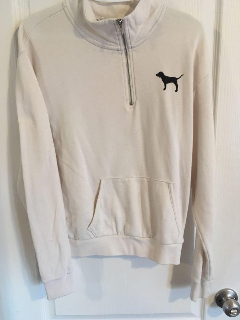 White quarter zip sweater