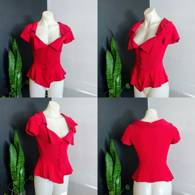 Women's size 1 (8-10) 'WAYNE COOPER' Stunning scarlet red short sleeve Blazer top - AS NEW