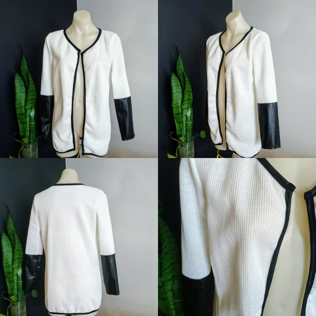 Women's size M/L 12-14 Gorgeous white summer Jacket with faux leather sleeves - BNWOT