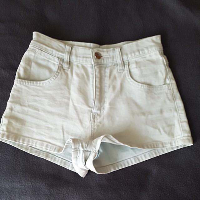 Wrangler light blue denim mini shorts hi cheeky size 8