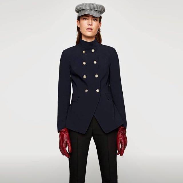 Zara double breasted military jacket