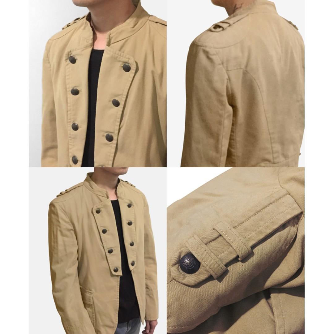 ZARA Man Military Jacket in Beige Blazer Coat Jaket Jas Pria, Preloved Fesyen Pria,