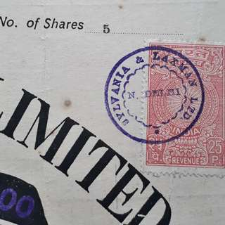 SYLVANIA & LAXMAN LIMITED - india 1979 - Share Certificate with Revenue Stamp