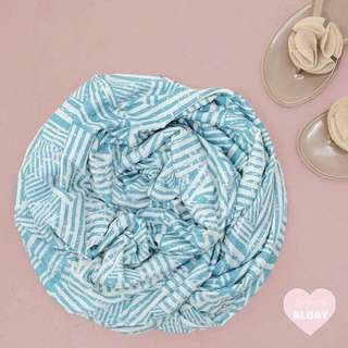 Blue Printed Bamboo Cotton Mini Double Infinity Scarf.