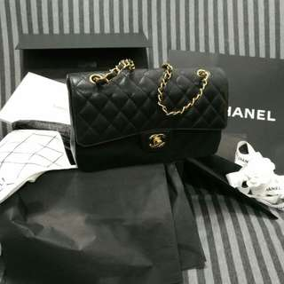 Chanel Classic Flap Medium Double Gold Hardware Black Caviar Calfskin All accessory included Paper bag, cloth bag, original tags, Price deducted