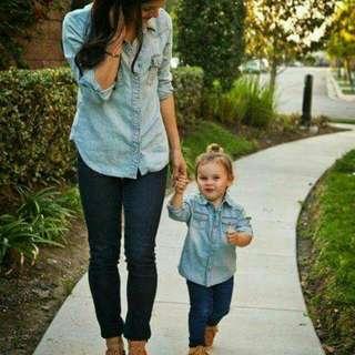 Couplean atasan jeans ibu dan anak