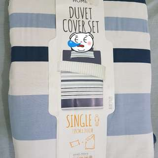 Duvet Single Cover Set - Blue Stripes