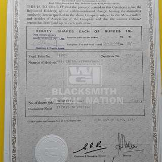 WG FORGE & ALLIED Industries Limited - 1974 -  india - Share Certificate