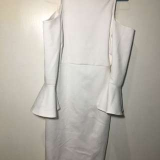 White shoulder off dress