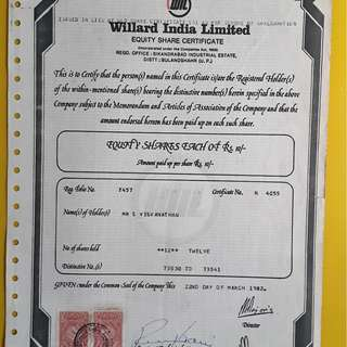 WILLARD INDIA -  india 1982 - Share Certificate with Revenue Stamp