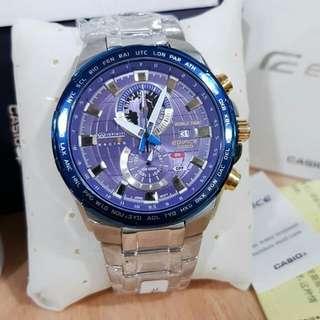 New Casio Edifice EFR550 Silver dial blue
