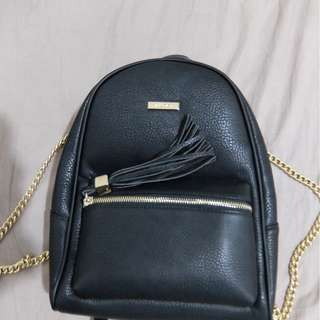 (New) Aldo Acenaria leather backpack with gold chain black