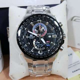 NEW Casio Edifice EFR 550 Silver Black dial