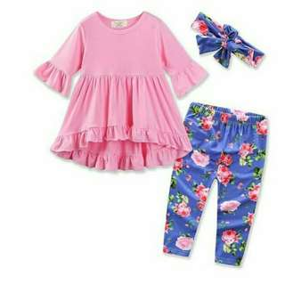 Fishtail Blouse with flowers pants free headband