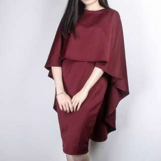 Maroon Cape Dress