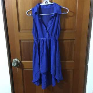🚚 前短後長透膚洋裝 寶藍