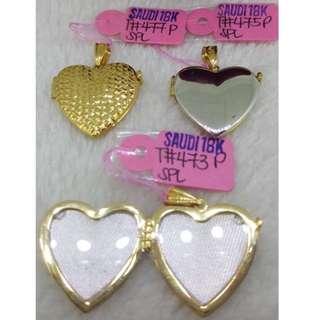 18K|750 Ladies Heart Locket Pendant Two-Tone Genuine Gold