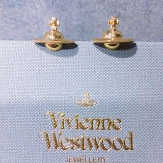 (100%正品) 95% 新 Vivienne Westwood 金色星球logo耳環 Golden Orb Earrings