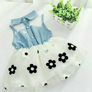 Tutu denim flower dress