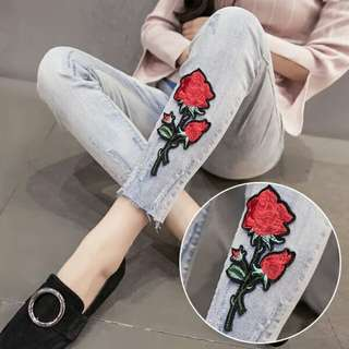 Rose Embroidery Maternity Jeans M-2XL