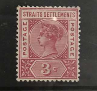 Singapore straits Queen Victoria 5c stamp mint