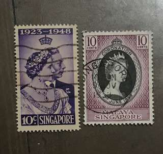 Singapore Queen coronation and silver wedding stamps 2v