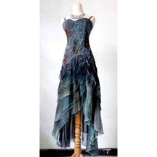 (200rb) Dress denim payet kombi chiffon, LD86-96,waist74,hip88,pjg138 BACK