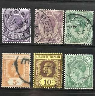 Singapore straits stamps King George V 6v