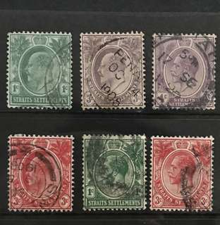 Singapore straits king Edward and George 6v stamps
