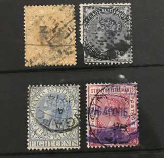 Singapore straits Queen Victoria 4v stamps