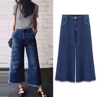 (L~5XL) European Wide leg pants female summer quarter pants denim casual loose straight pants