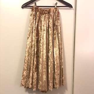 金屬色中長裙