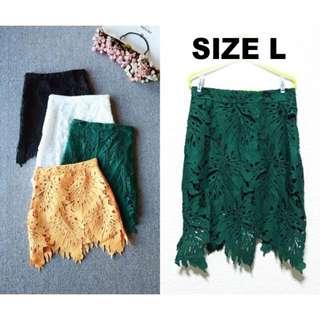 BNWT Forest Green Crochet Skirt