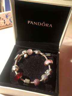 Pandora Bracelet手鏈 高貴配搭 粉紅色調 多charms