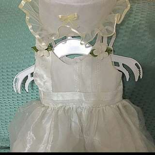 Baby girl Baptismal Dress w/Shoes&Hat