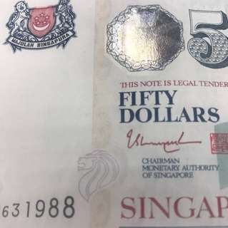 Lucky $50 Singapore note