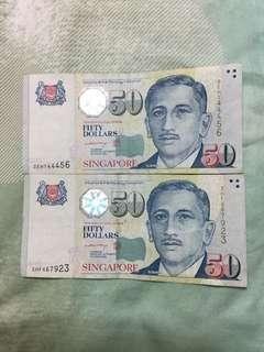 Singapore portrait $50 LHL sign