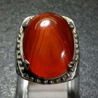 Cincin Batu Akik Red Carnelian Junjung Derajad Gunungan Kristal