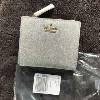 全新100%正品Kate Spade銀色閃爍短銀包