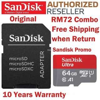 Original SanDisk 64GB Micro SD Card 100MB/s Ultra C 10 A1