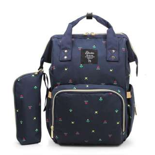 Floral backpack dypers bag (dark blue)