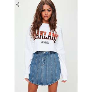 Vertical Strip Denim Skirt