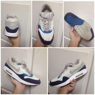 Authentic Nike Air Max 1 Neutral Grey Obsidian Imperial Blue Sneakers Shoes